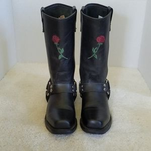 Double H Embroidered Rose Harness Motorcycle Boots
